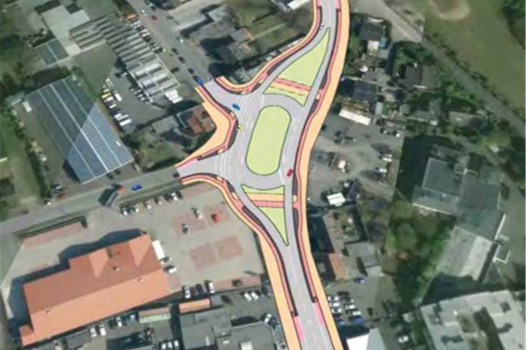 So stellt sich eine Ingenieursgesellschaft aus Münster die Lösung an der Kreuzung Recklinghäuser Straße/Glashütte vor. Der Wender würde die angespannte Verkehrssituation deutlich entspannen.