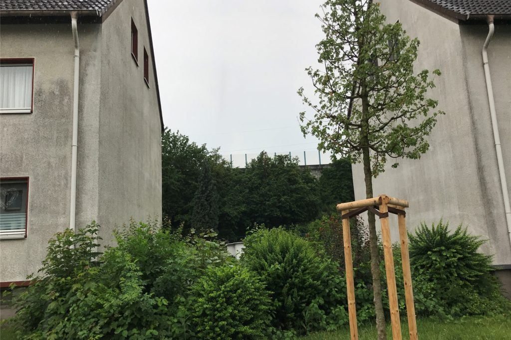 """Wer von der Straße """"Im Hagen"""" die Lärmschutzwand sucht, dem stehen die Mehrfamilienhäuser und viel Grün im Weg. Für Kunst kein Platz, zumindest nicht an der A2-Mauer."""