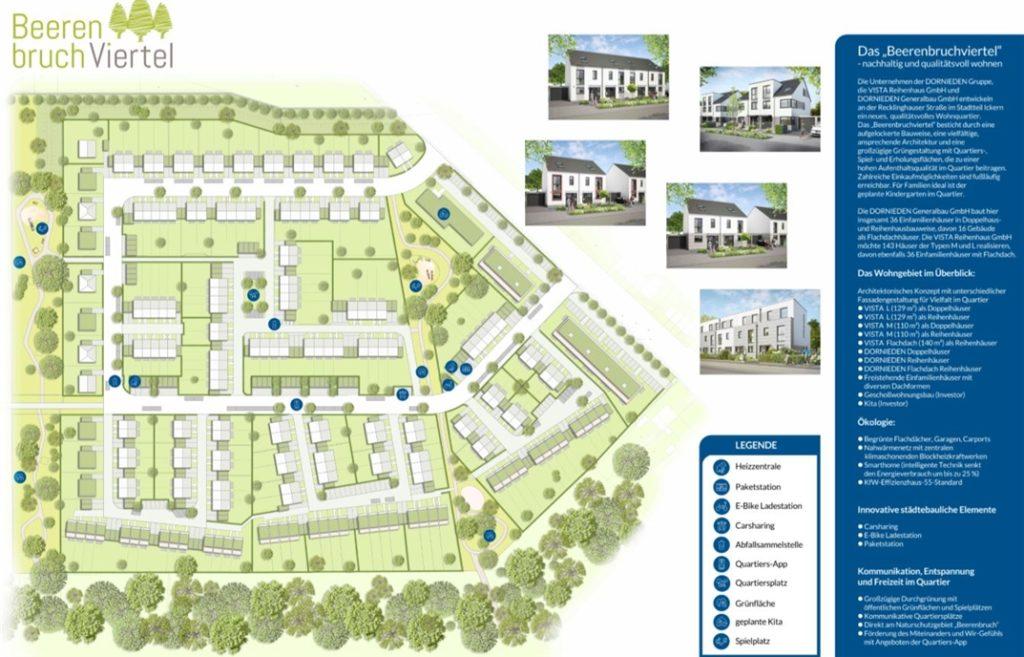 Das Beerenbruchviertel, wie es die Dornieden-Gruppe in Ickern jetzt plant: Wenn alle Häuser stehen, sind hier in Summe etwa 200 Wohneinheiten vorhanden, also Platz für 600 bis 800 Menschen. Das Viertel soll grün werden und man will das Wir-Gefühl mit einigen Details fördern.