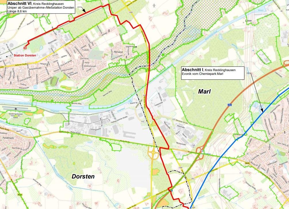 Dies der Trassenverlauf der Erdgasleitung auf Dorstener Stadtgebiet.