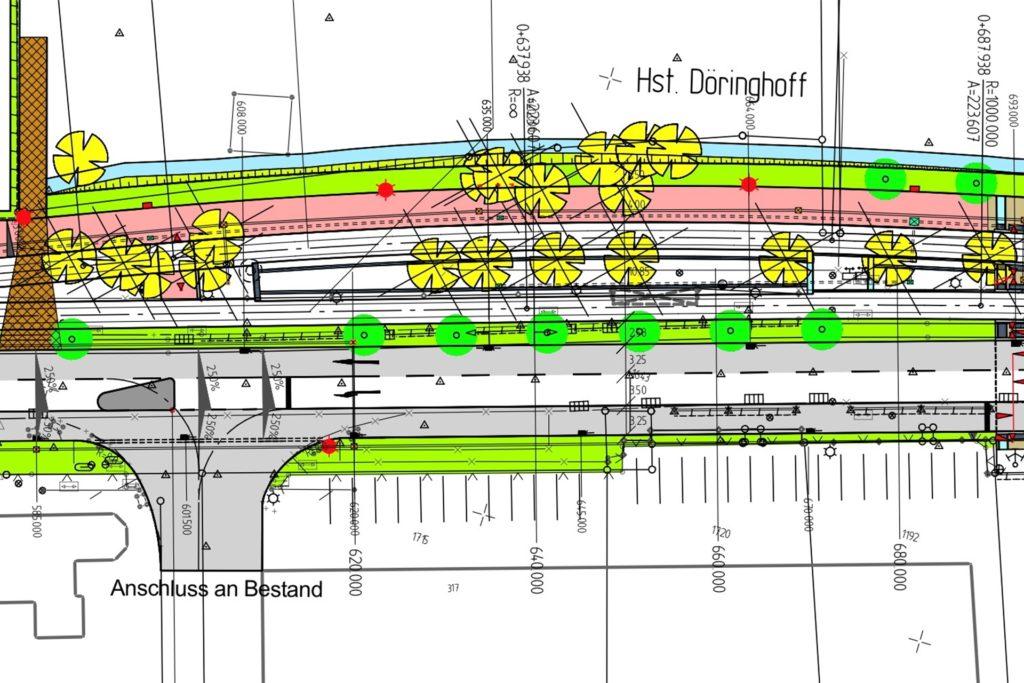 Auf dieser Grafik ist zu erkennen, wie sich der Straßenraum künftig aufteilt. Es gibt Grünstreifen, Fahrradwege, Stadtbahngleise und Fahrspuren für Autos