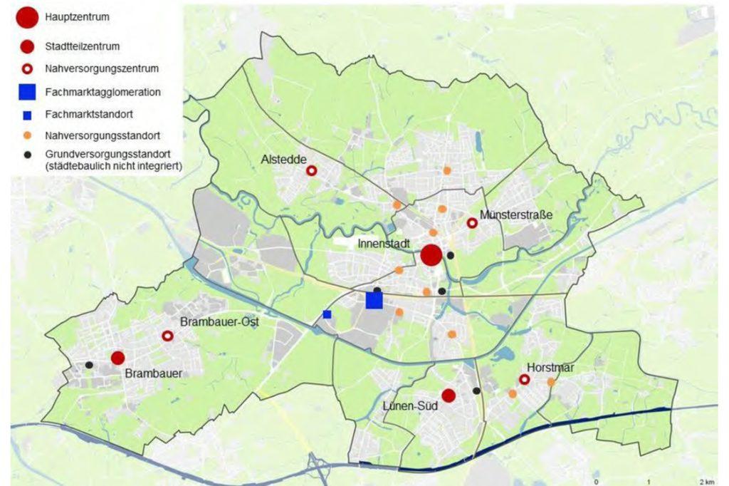 Die Verteilzentren in Lünen gemäß des Masterplans Einzelhandel.