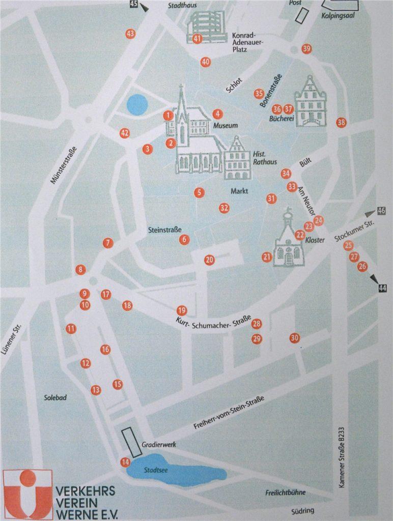 Die Standorte der Stromkästen mit historischen Fotos im Werner Stadtkern.