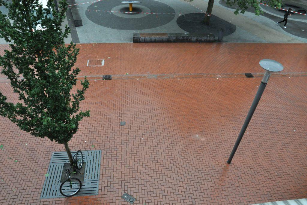Zwischen Wasserrinne und Baumreihe ist der fünf Meter breite Bereich der Fußgängerzone für Radfahrer vorgesehen.