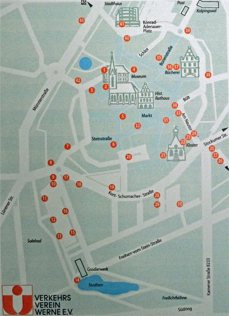 Die Standorte der Stromkästen mit historischen Fotos in der Werner Altstadt.