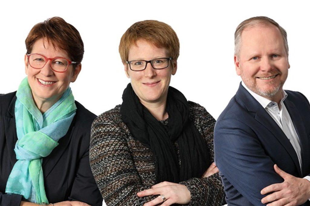 Sabine Radig, Anica Althoff und Jan Dettweiler (v. l.) vom Krisenteam der WFG stehen hilfesuchenden Unternehmen und Selbstständigen aus dem Kreis Unna mit Rat und Tat zur Seite.