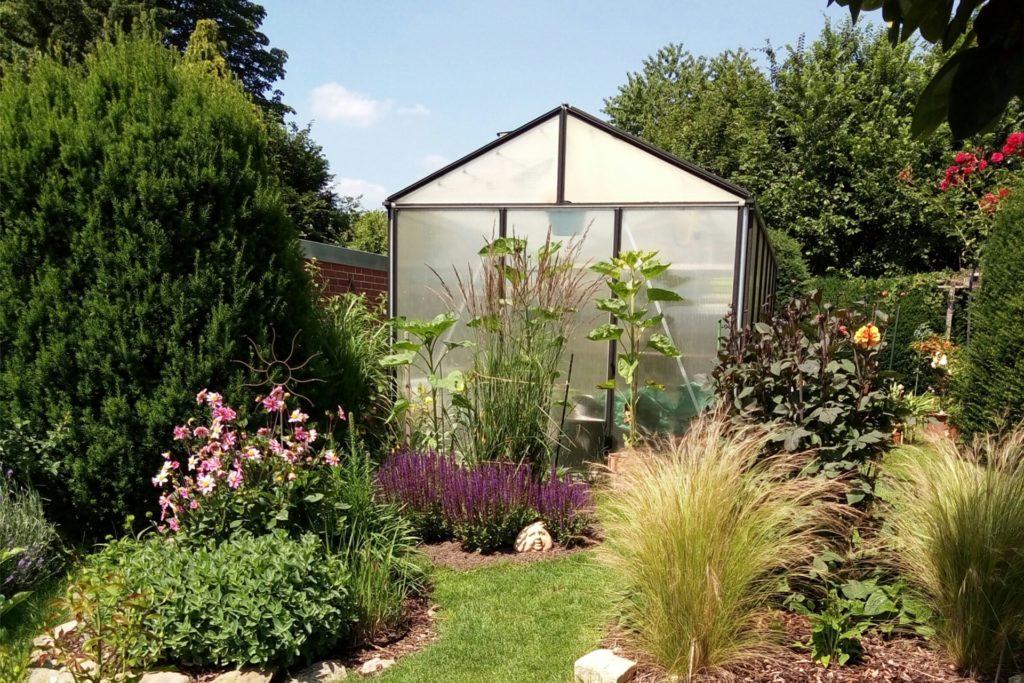 Tomaten, Paprika und Gurken wachsen im Gewächshaus im hinteren Teil des Borker Gartens.