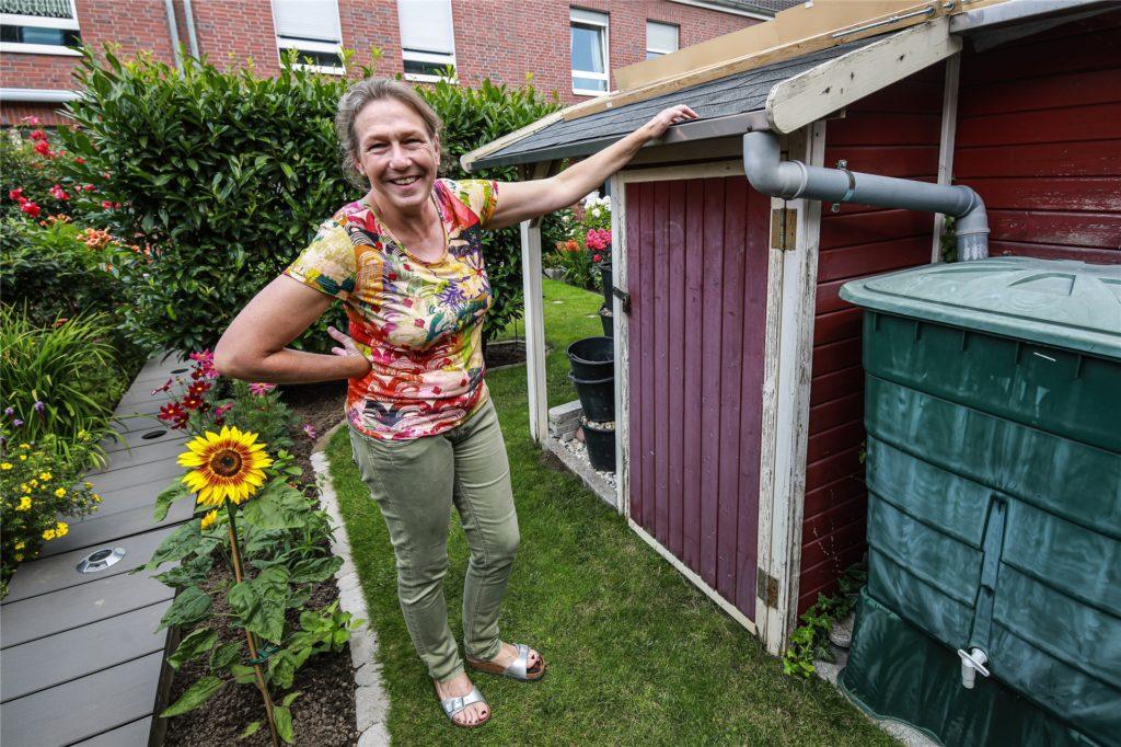 Die Drainage im Garten von Sabine Wessollek ist gut verkleidet.