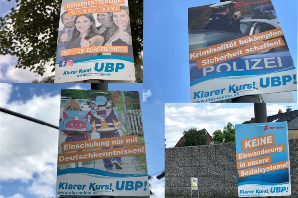 Diese UBP-Plakate hängen in Castrop-Rauxel. Lokale Themen sind Fehlanzeige, die Slogans erinnern in vielen Punkten an Plakate, wie man sie auch von der AfD kennt.