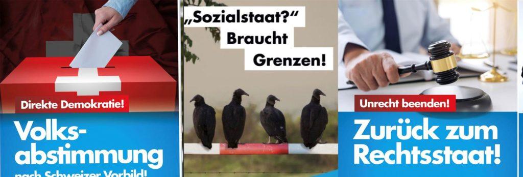 Vier AfD-Plakate aus verschiedenen Teilen Deutschlands. Die Aussagen sind denen auf den neuen UBP-Plakaten nicht unähnlich.