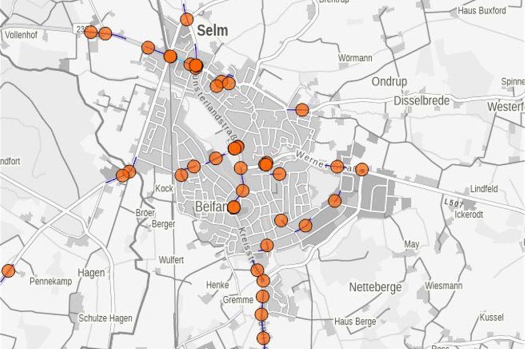 Auf diesem Ausschnitt der Karte von IT.NRW ist zu sehen, wo sich die Unfälle in Selm 2019 verteilt haben.