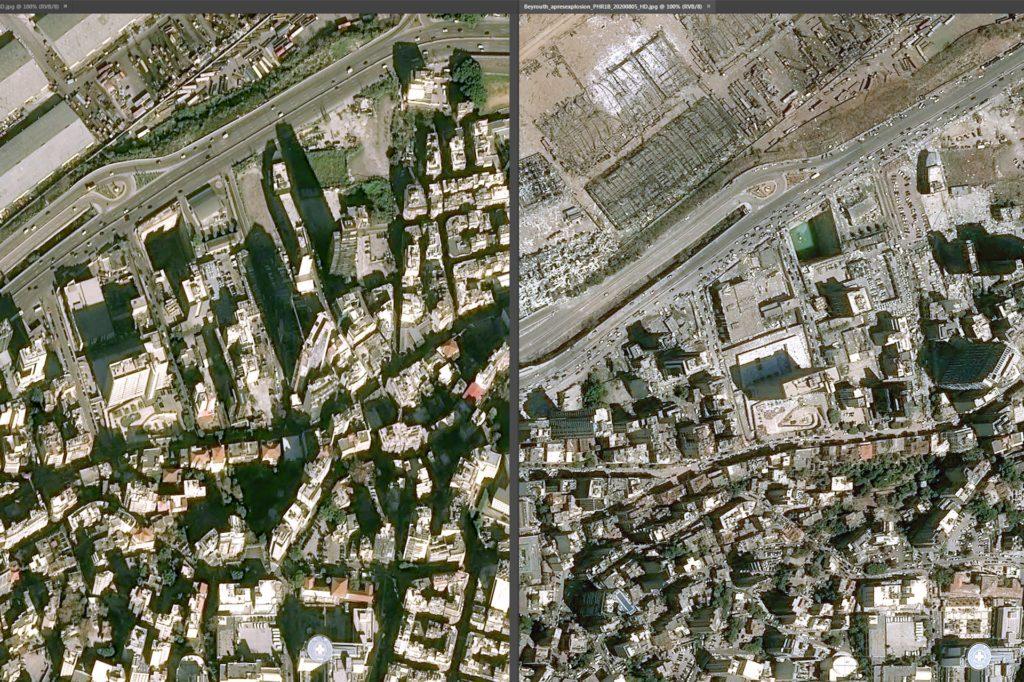 Die undatierte Bildkombo zeigt die Docks des Hafens in Beirut vor und nach der gewaltigen Explosion in der libanesischen Hauptstadt.