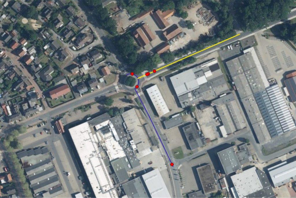 Jeder rote Punkt steht für einen Unfall im Jahr 2019. Der Ausschnitt der Karte zeigt den Kreisverkehr an der Ottensteiner Straße in Vreden.