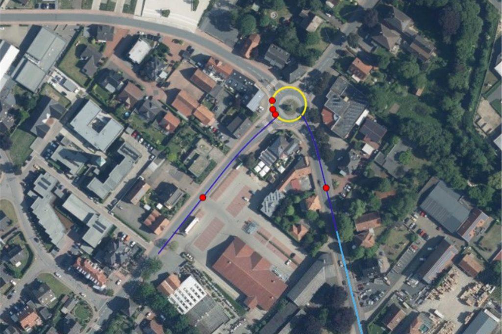 Jeder rote Punkt steht für einen Unfall im Jahr 2019. Der Ausschnitt der Karte zeigt den Kreisverkehr an der Winterswyker Straße/Up de Bookholt.