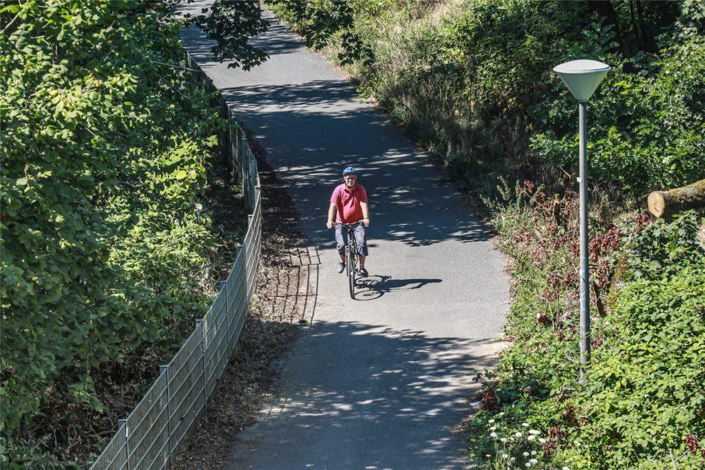 Auf gut ausgebauten Wegen verläuft der Emscher-Radweg im Bereich Hörde.