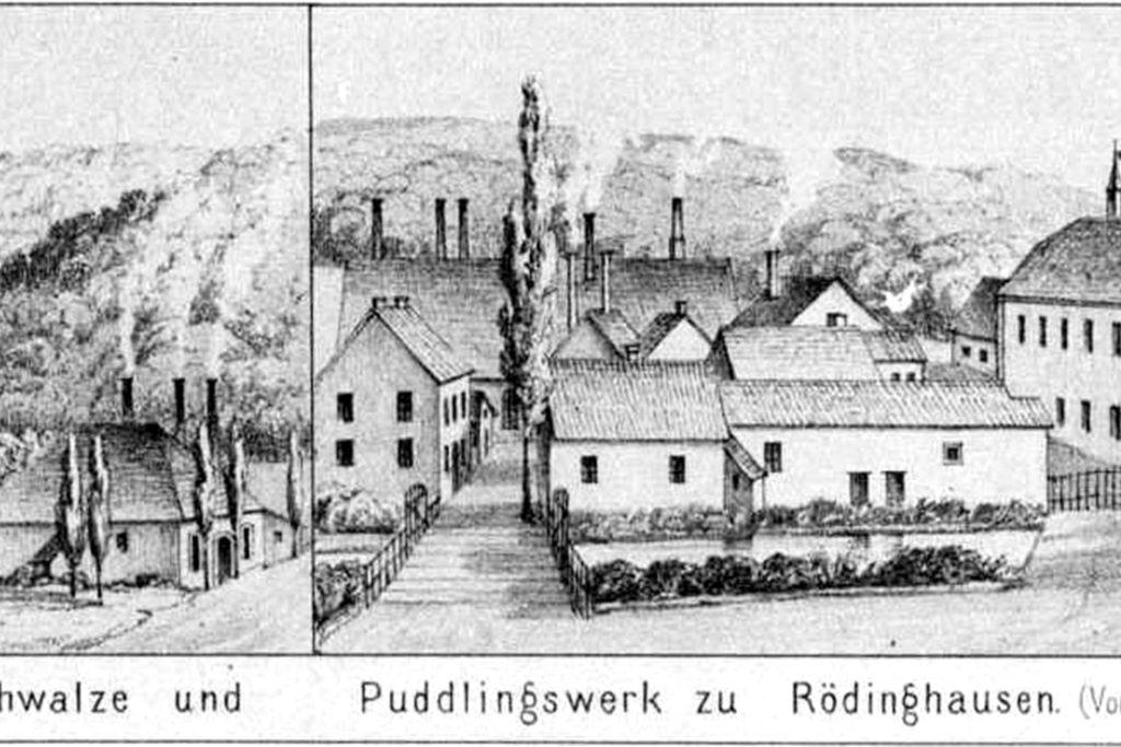Die Ursprünge von Hoesch Schwerter Profile lagen in Rödinghausen bei Menden, hier eine Ansicht von 1856. Wegen der Bahn-Anbindung zog das Unternehmen aber ab 1868 nach Schwerte um.