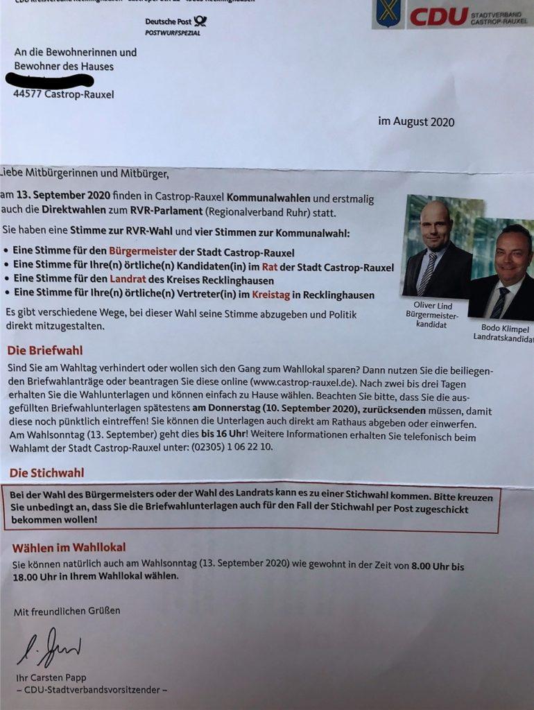 Das Schreiben der CDU zur Briefwahl: Erklärungen zur Wahl plus Fotos der CDU-Kandidaten.