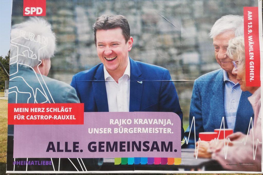 Dieses Plakat mit Bürgermeister Rajko Kravanja richtet sich an ältere Wähler.