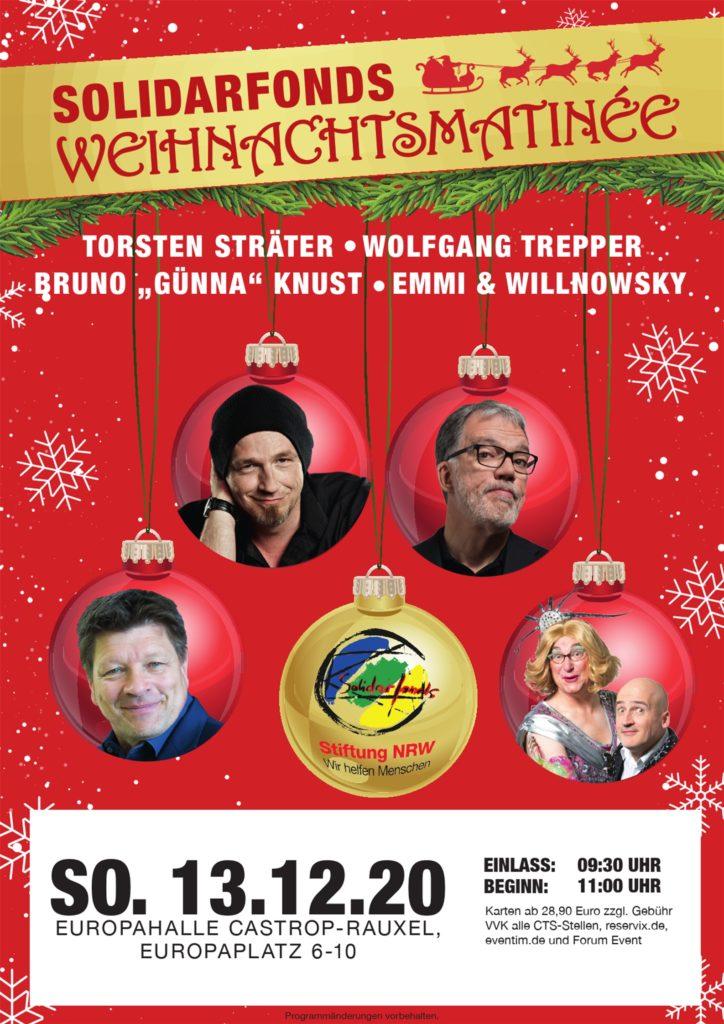 Die hochkarätigen Künstler treten bei der Weihnachtsmatinee in der Europahalle für den guten Zweck auf.