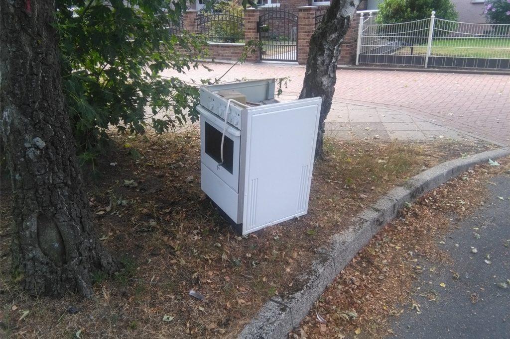 Ein ausgedienter Elektroofen, achtlos unter einem Baum abgestellt: Der Wertstoffhof nimmt solche Geräte entgegen. Voraussetzung ist, dass man sie dorthin bringt.