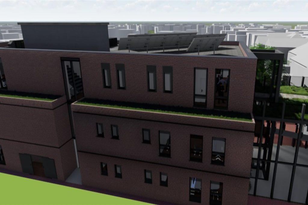 Auf dem Dach des Anbaus (hier eine Perspektive aus Richtung Landwehr) werden Geothermie und Solarzellen zum Einsatz kommen.