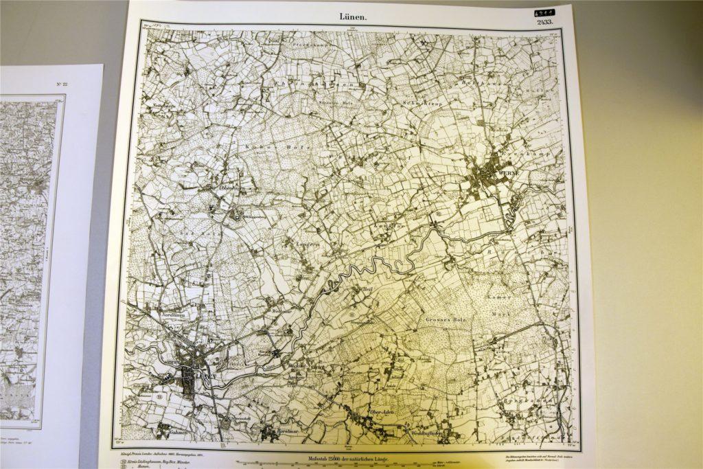 """Eine Karte von Lünen und Umgebung aus dem Jahr 1892. Im Nordosten (der """"schwarze Fleck"""") liegt Werne."""