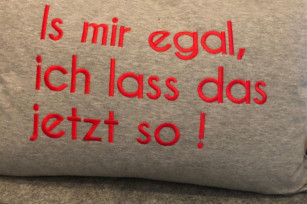 Dieses Kissen spricht für sich selbst.