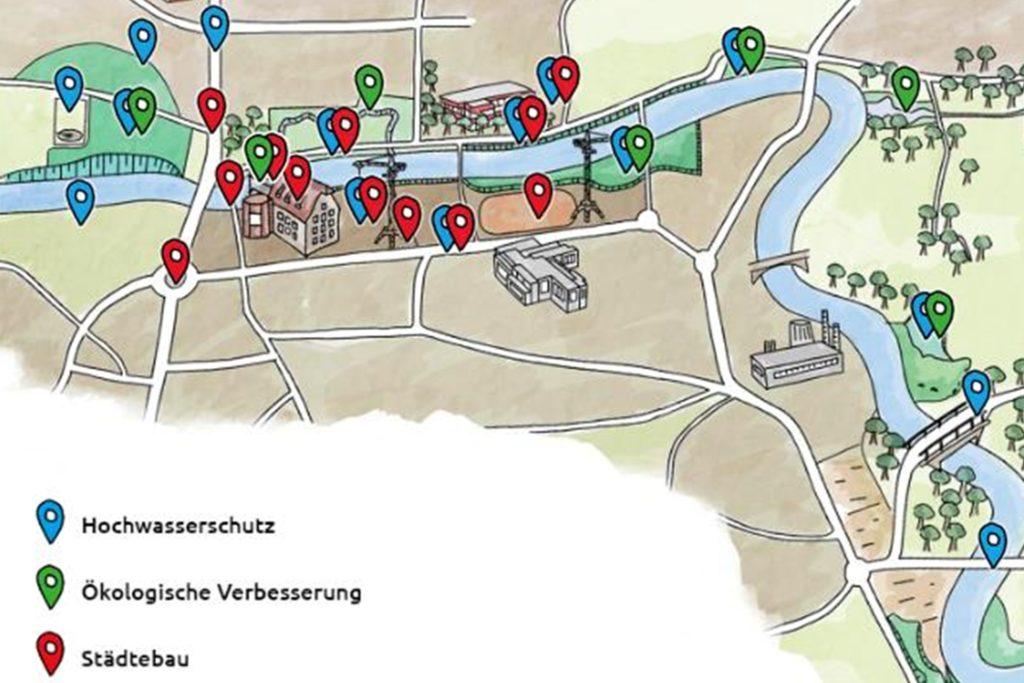 Eine Übersichtskarte mit interaktiven Buttons erläutert auf der Internetseite natuerlich-berkel.de die zahlreichen Berkelprojekte.