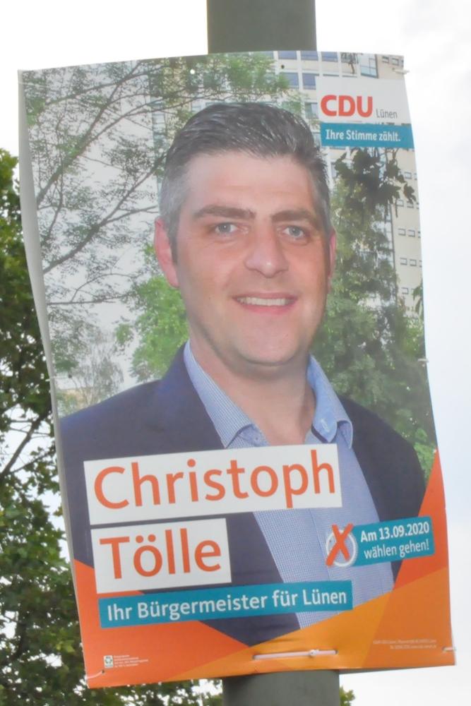 """CDU-Kandidat Christoph Tölle wirbt bereits vorab mit dem Wahlspruch """"Ihr Bürgermeister für Lünen""""."""