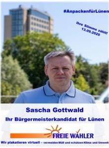 Sascha Gottwald, Bürgermeisterkandidat der Freien Wähler in Lünen, plakatiert nur virtuell.