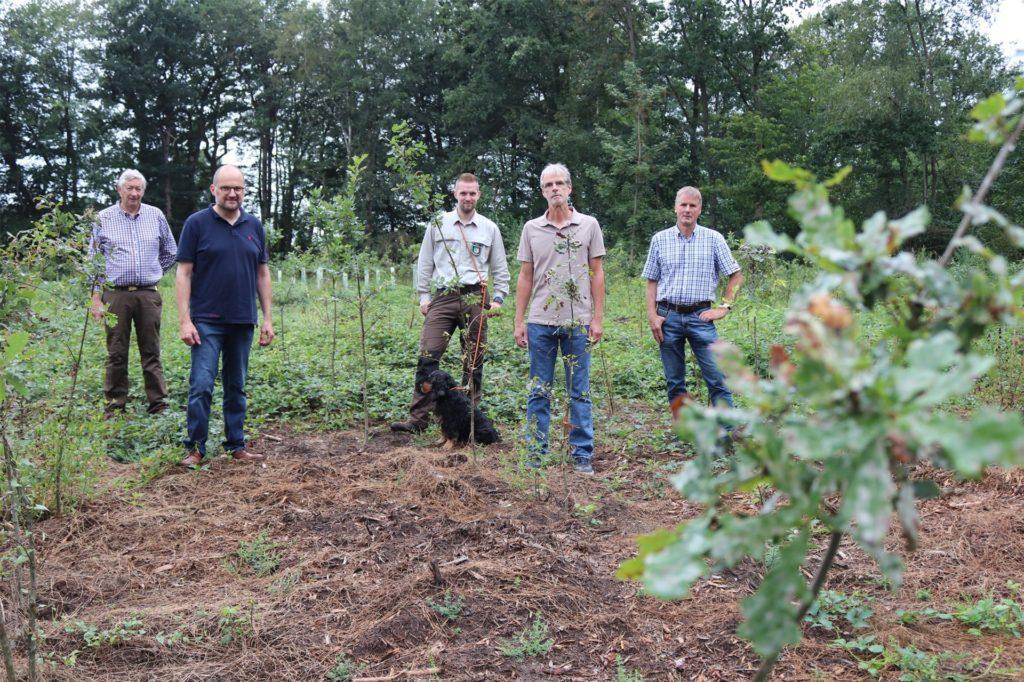 Antonius Berning, Berthold Deitermann (1.u.2.v.l.) und Herbert Royé (r.) sind im Vorstand der FBG, deren Leitung Gerd Hemker (M.) von Matthias Reeker-Ebbing übernommen hat.