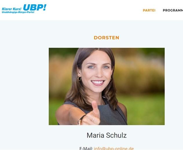Das soll Maria Schulz sein. So hieß es bis Dienstagmittag auf der Seite der UBP im Kreis Recklinghausen.