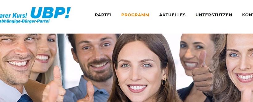 Diese Menschen lächeln einem von der UBP-Seite entgegen.