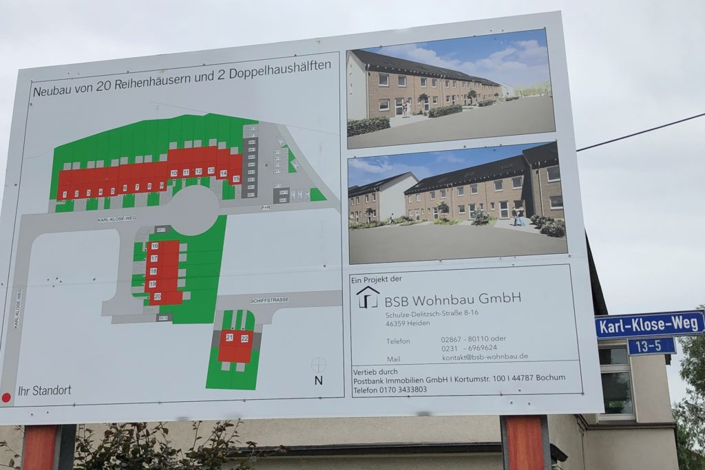 So sieht das Baugebiet auf dem Bauschild an der Einmündung zum Karl-Klose-Weg aus