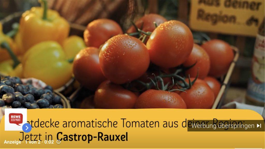 In einem Screenshot aus der Werbung sieht man die Tomaten aus Castrop-Rauxel.