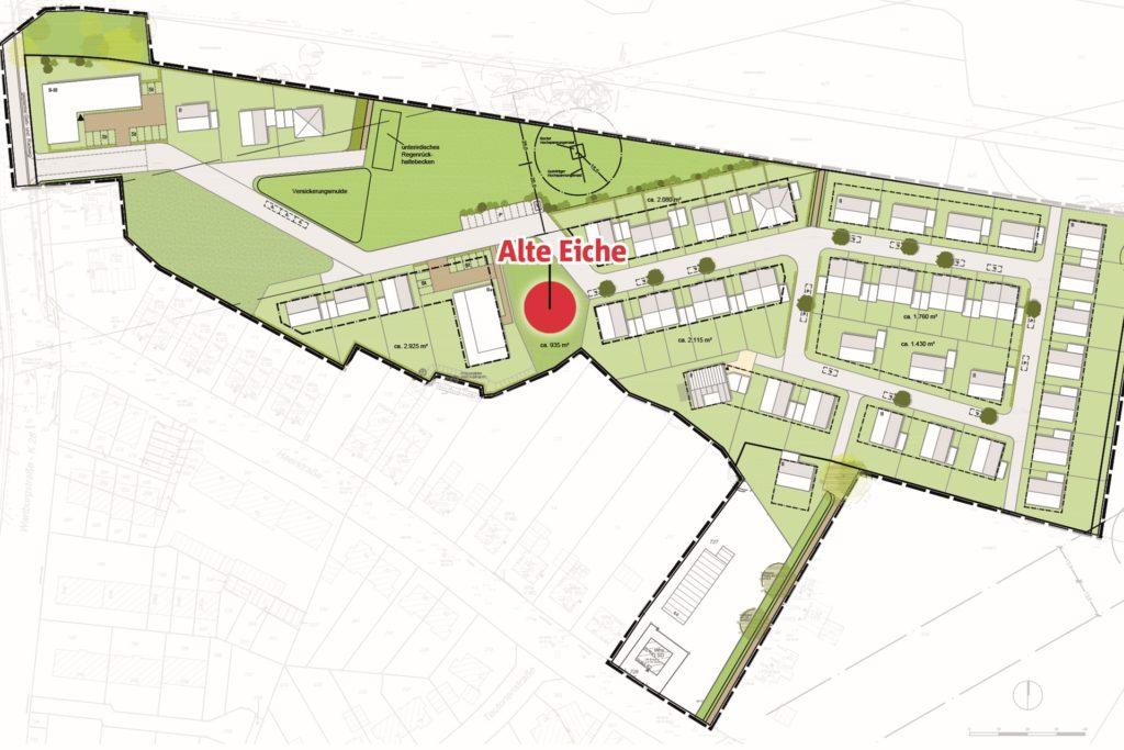 Der neue Plan für das Baugebiet an der Heerstraße spart das Gelände rund um die Alte Eiche komplett aus.
