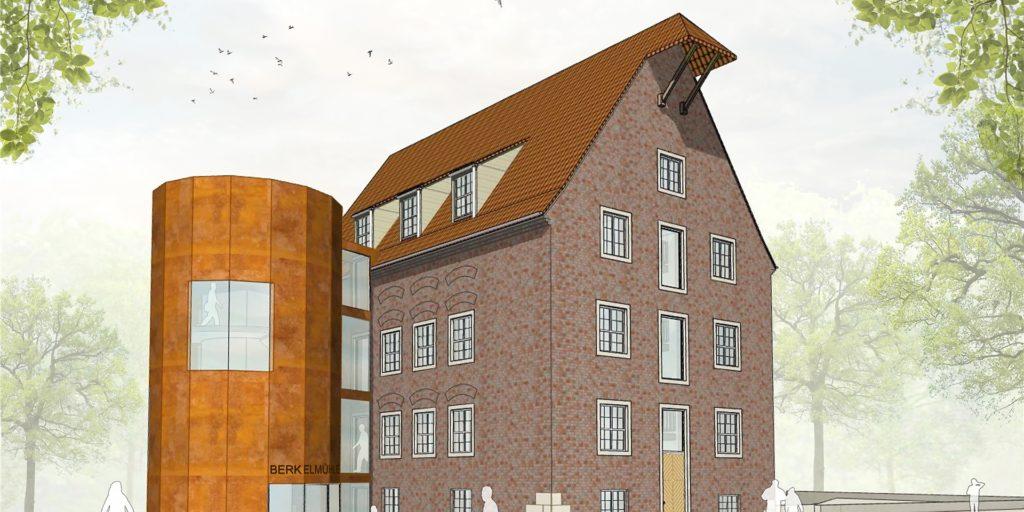 So soll die Mühle 2023 mit dem neuen Treppenturm aussehen. Die Platzgestaltung ist Thema des 2. Berkeldialogs.