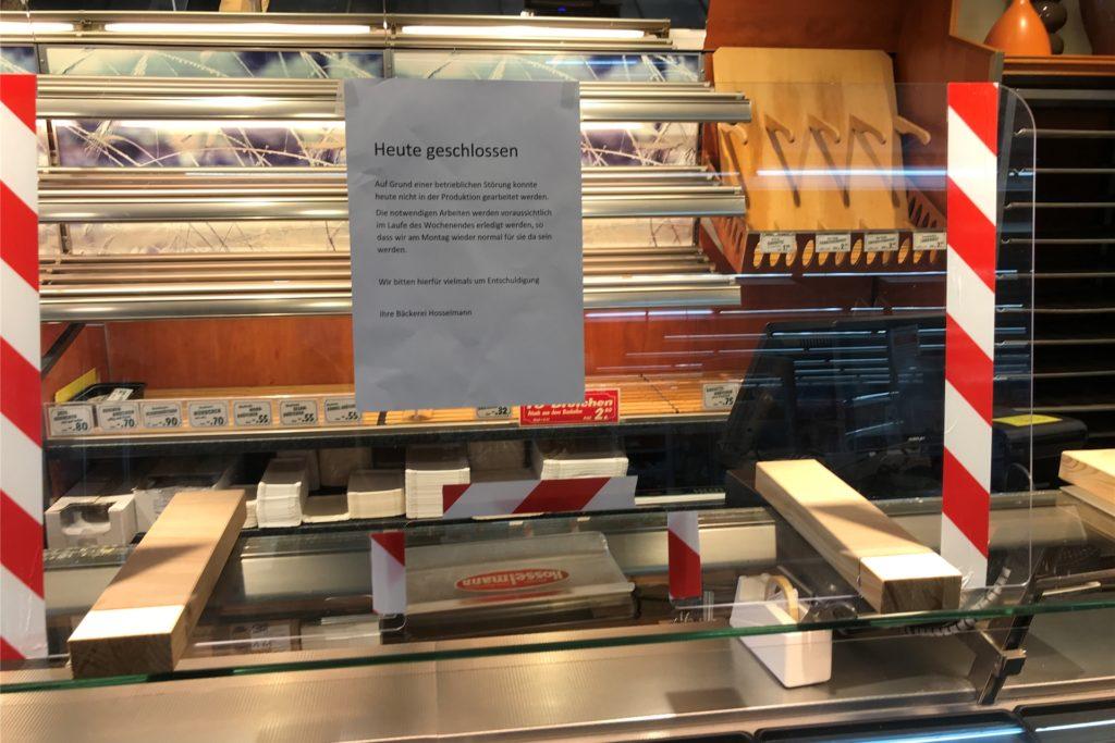 Die Bäckerei Hosselmann in Ickern war Freitag geschlossen, aber soll Montag wieder öffnen.