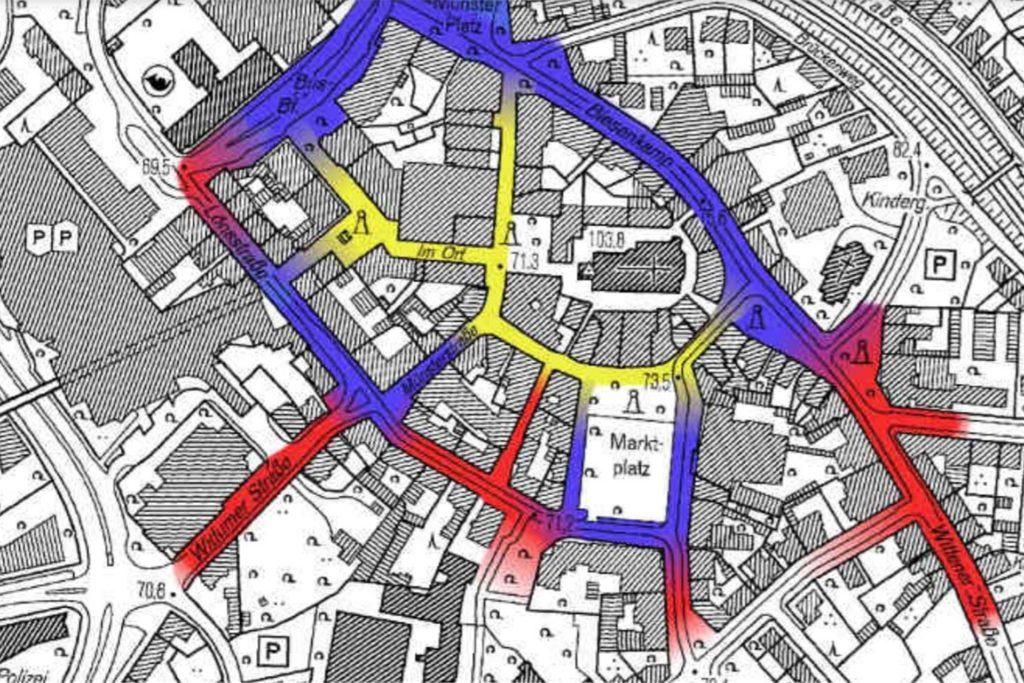 Die 1a-Lagen sind gelb eingezeichnet, 1b-Lagen blau und 2er-Lagen werden rot dargestellt.