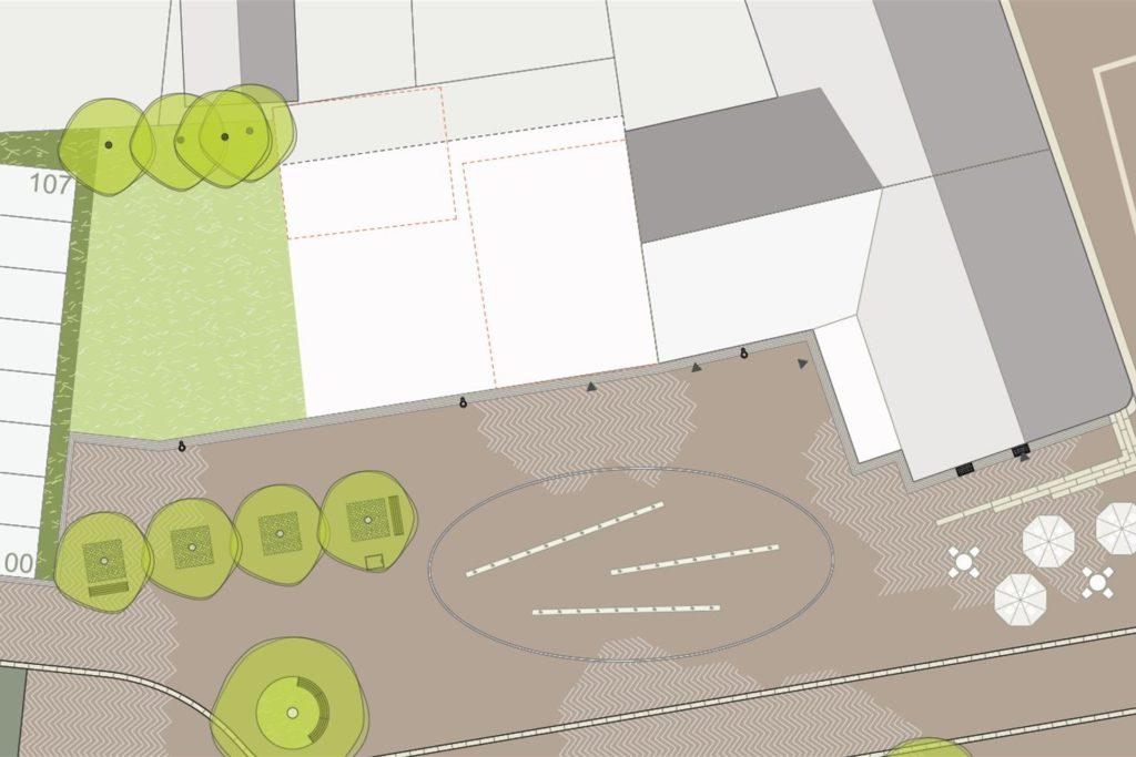 An verschiedenen Stellen im Ascheberger Ortskern hat das Architekturbüro Lohaus - Carl - Köhlmos Neubauten vorgesehen. Konkretes Potenzial bringt unter anderem die Fläche westlich angrenzend an die Konditorei Lüningmeyer mit sich.