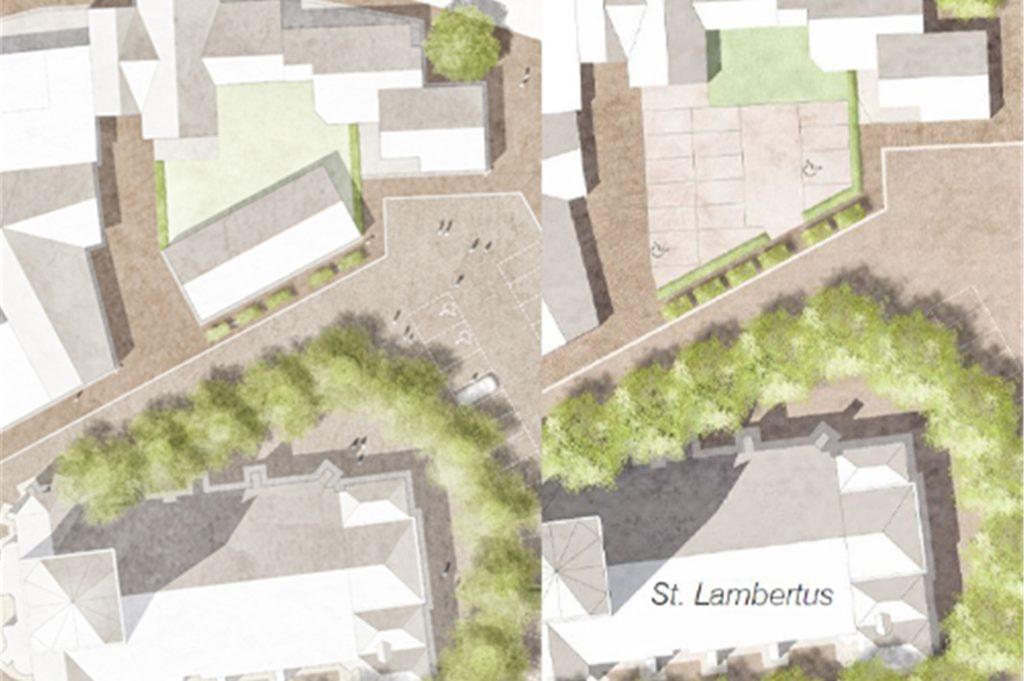Für die Fläche der ehemaligen Gaststätte Bultmann sind die Pläne noch offen. Das Architekturbüro Lohaus - Carl - Köhlmos hatte in zwei Entwürfen einmal ein Gebäude (l.) und einmal Parkfläche (r.) vorgesehen.