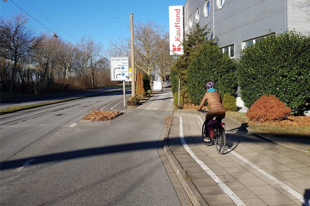 Den Radweg am Altstadtring müssen sich Radfahrer und Fußgänger teilen.