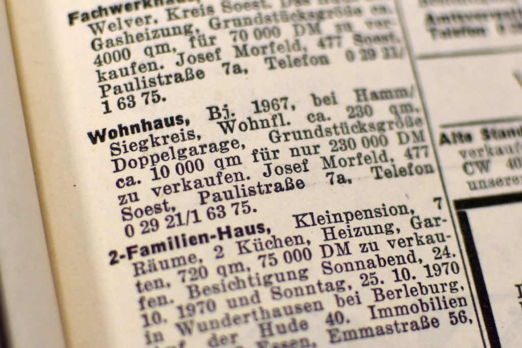 Großes Haus für wenig Geld: Natürlich waren 1970 230.000 DM noch etwas anderes als 115.000 Euro heute. Dennoch haben sich die Immobilienpreise in eine ganz andere Dimension bewegt.