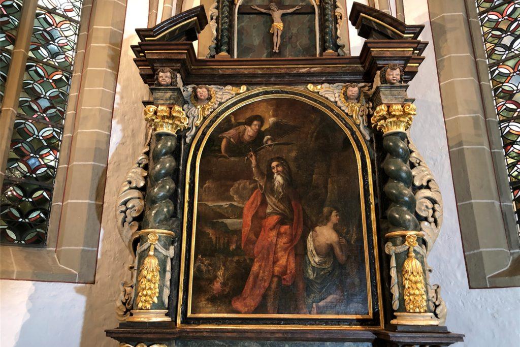 Auch das Altarbild - Abrahams Prüfung - kommt mit der neuen Beleuchtung besser zur Geltung