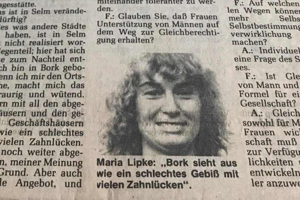 """""""Bork sieht aus wie ein schlechtes Gebiss mit vielen Zahnlücken"""" - RN-Interview mit Maria Lipke aus dem Jahr 1987."""