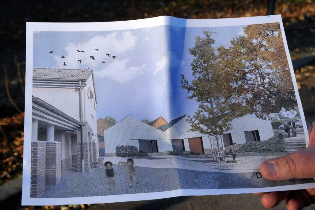 ein fertiger Plan, sondern eine Zeichnung aus der Machbarkeitsstudie: Ein neues Gemeindezentrum soll seinen maroden Vorgänger in Ergste ersetzen.