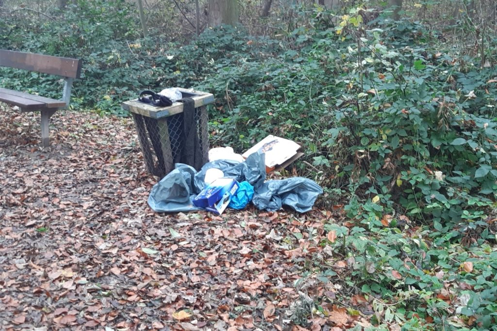 Der Mülleimer war schon voll, also wurde der restliche Abfall kurzerhand dreist daneben entsorgt.