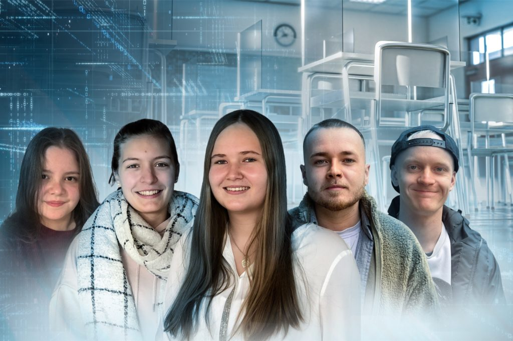 Celine Wohlau, Marie Furtkamp, Katharina Funke, Philipp von Laar und Rudolph Schnell (v.l.) haben ihre Wünsche, was sie ihren Lehrern gerne beibringen möchten, im Video geäußert.