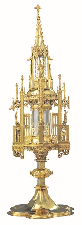 Diese Monstranz von einem Dortmunder Goldschmied aus den Jahren um 1500 oder 1510 gehört der Gemeinde St. Lambertus.