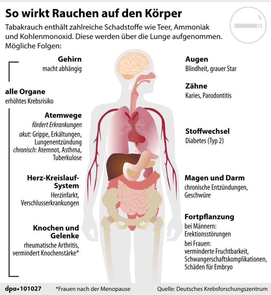 Die Grafik zeigt, wie Rauchen auf den Körper wirkt.